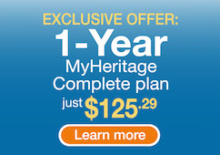 Save 50% on MyHeritage Complete Plan - click here to get your 50% off deal on the MyHeritage Complete package. The normal price is $250.74 USD and you'll pay just $125.29 for a full year's access