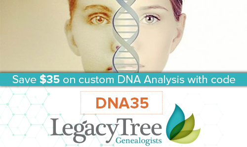 Save $35 on Customized DNA Analysis Report from Legacy Tree Genealogists