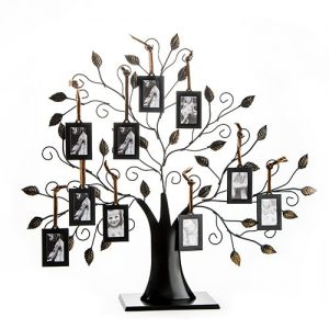 "Family Tree Picture Frame Display With 10 Hanging Picture Photo Frames - ""Family Tree Picture Frame Display with 10 Hanging Picture Photo Frames Show how your family tree has blossomed with this unique metal tree with 10 hanging picture frames. Finished in dark metal, this striking design features hanging 2x3 frames and stands on its own as a bold statement piece. Intricately carved branches and leaves artfully display your precious family pictures, making it a treasured family heirloom for years to come. Makes the perfect Mothers Day or family reunion gift."""