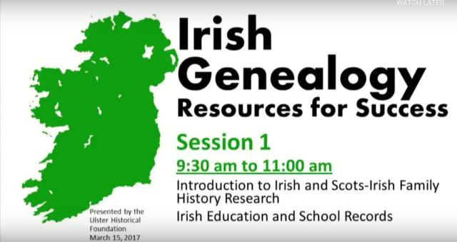 FREE Webinar Recordings - Irish Genealogy: Resources for Success! and Famine Era Records and Emigration - On March 15 and 16, 2017, the Fountaindale Public Library in Bollingbrook, Illinois, hosted a day-long event of Irish genealogy lectures online. The event was sponsored by the Ulster Historical Foundation and the resulting recordings can be viewed for FREE.