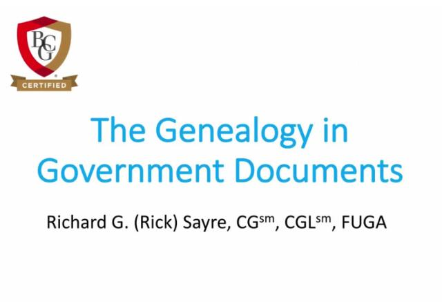 "FREE RECORDING The Genealogy in Government Documents presented by by Rick Sayre, CG, CGL, FUGA - ""An often under used resource, evidence of kinship abounds in publication such as the Serial Set, American State Papers, and the Territorial Papers. We explore these publications and discover efficient ways to access them."""