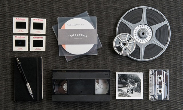 "Get the Legacybox Starter Kit - normally $74.95 for just $27.99 right now at Groupon! ""The Starter Box includes three video tapes, three film reels, or 75 photos. The Family Box includes 10 video tapes, 10 film reels, or 250 photos. The Collection Box includes 15 video tapes, 15 film reels, or 375 photos. The Closet Box includes 20 video tapes, 20 film reels, or 500 photos. The Trunk Box includes 40 video tapes, 40 film reels, or 1,000 photos."""