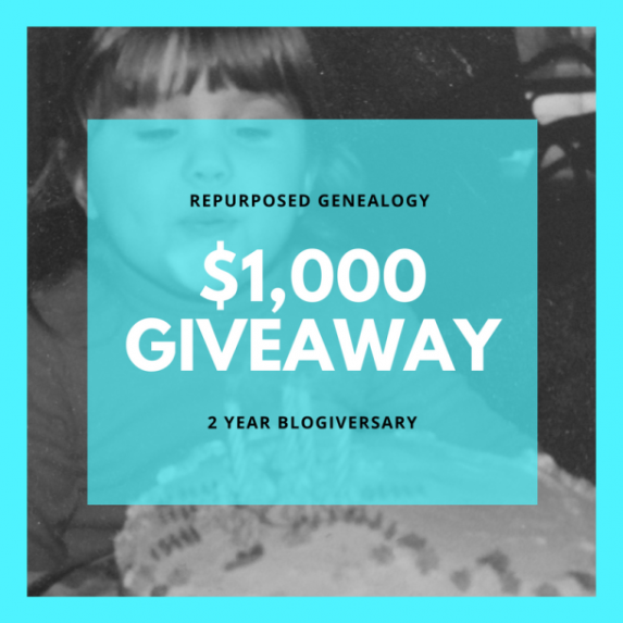 "Enter the Repurposed Genealogy $1000 Giveaway - Help Genealogy Jen at Repurposed Genealogy celebrate her 2nd ""blogiversary"" by entering this amazing contest! Prizes include an Ancestry.com World Explorer subscription, DNA test kits from AncestryDNA, 23andMe and Family Tree DNA, and more!"