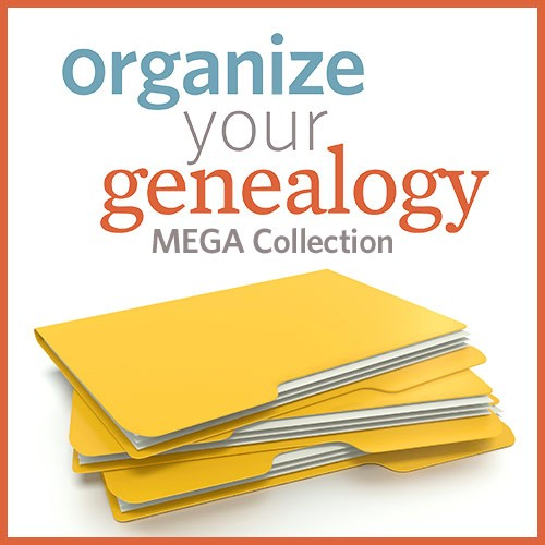 "79% Off Organize Your Genealogy Mega Collection at Shop Family Tree - full price, $373.88, sale price $79.99! ""If being an organized genealogist feels like a pipe dream, this collection is for you! This collection will provide a ton of tips and strategies on organizing all aspects of your genealogy - from setting goals and creating projects to setting up paper and digital organization systems, finding the best apps and tools to keep your projects on track, and even make more time for continuing your genealogy education, volunteering, and more. Each resource in this collection offers a different perspective and new tips that you can use to create an organization system that works for you."""