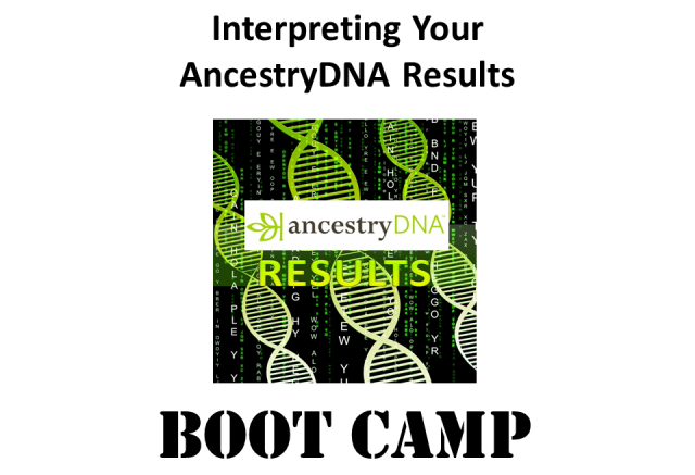 Join DNA expert Mary Eberle on Saturday, June 24th for Interpreting Your AncestryDNA Results Boot Camp - learn how to get the most out of your DNA results