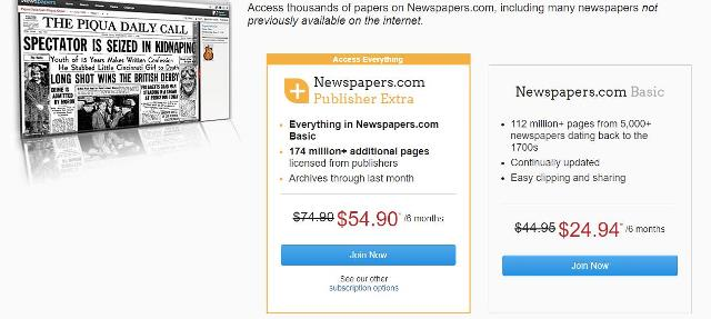 Save $20 on a 6-month subscription at Newspapers.com. Normally $74.90 USD, now just $54.90 USD.