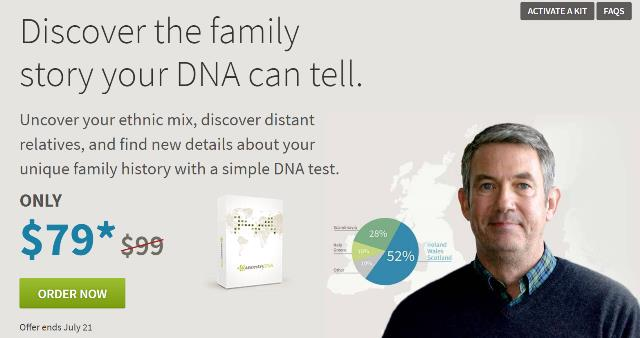 Save $20 on AncestryDNA - Ancestry has decided to mark down its DNA test to $79 USD. PLUS each additional kit is just $69! Offer ends July 21st.