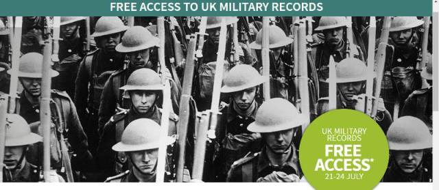 """FREE ACCESS UK Military Records at Ancestry - """"Our military history is on our minds at the moment, with the Passchendaele centenary and the new Dunkirk film. Don't miss this chance to track down your ancestors who served their country in WWII, WWI and earlier conflicts. From 21-24 July, get access to millions of records and find the military men and women in your family—all completely free."""" Offer valid through July 24th"""