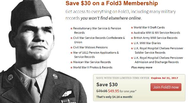 "Save $30 on fold3 annual subscription - you save over 37%! ""Get access to everything on Fold3, including many military records you won't find elsewhere online."" Normally $79.99, pay just $49.99 now through July 31st."