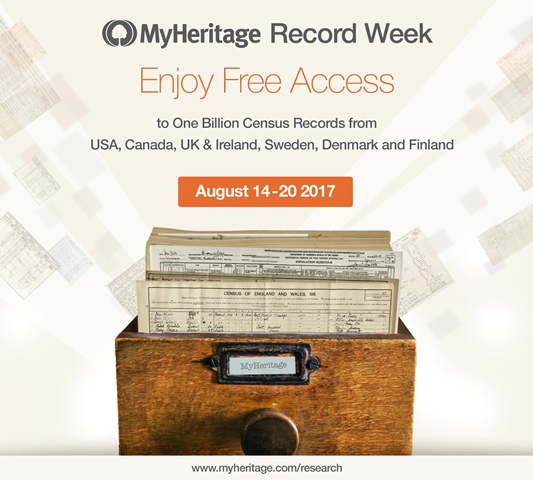 """FREE ACCESS ALL CENSUS RECORDS at MyHeritage! """"In celebration of our recent milestone — surpassing 8 billion historical records on SuperSearch — we're happy to announce that we're making all of our major census collections from the U.S., U.K. and Ireland, Canada, and Nordic countries free for everybody, for one week!"""" Offer is valid through Sunday, August 20th and no data subscription is required to access 94 collections containing over 1 billion census records!"""