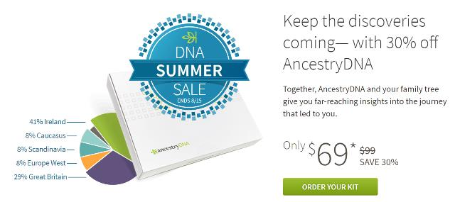 Save 30% on AncestryDNA only $69 and there is NO LIMIT to the number of kits you can purchase - now is the time to stock up for your family reunion, the holidays or gift giving! Sale good through August 15th.