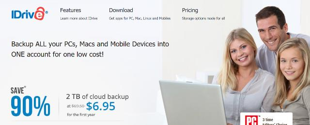 "90% off iDrive automatic online backup - normally $69.50 per year, you get the first year of 2TB cloud storage for just $6.95! This is a ""set it and forget it"" program like Carbonite but much better: you can backup your mobile devices and even Facebook images!"