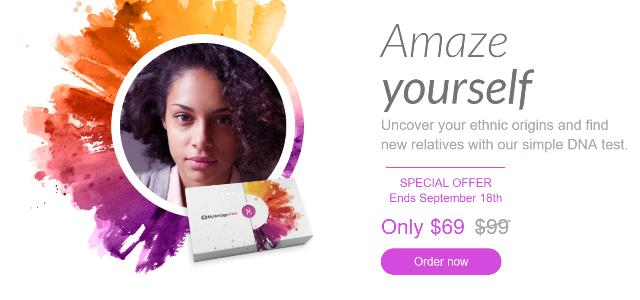 MyHeritage DNA test kit just $69 - save 30%! This is the same type of autosomal test that 23andMe, Family Tree DNA and AncestryDNA all offer! Sale valid through September 18th.