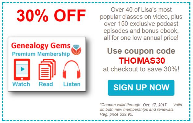 "Save 30% on Genealogy Gems Premium Membership! Lisa Louise Cooke of the Genealogy Gems site produces some AMAZING CONTENT for genealogists of all skill levels. Did you know she also has a special premium site for her followers? ""The Genealogy Gems Premium Membership is the best way to get the most out of Lisa Louise Cooke's Genealogy Gems! Premium Members get exclusive access to incredible content to help you further your research – all for one low annual price!"""
