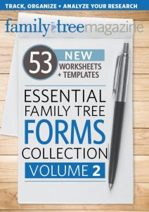 Essential Family Tree Forms Collection, Volume 2 (Download): This sequel to the popular Essential Family Tree Forms Library contains 53 more new forms for tracking, organizing, and analyzing your genealogy research.