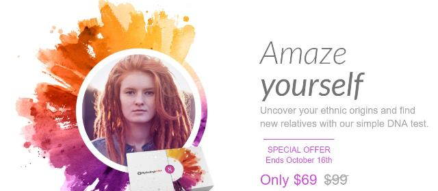 MyHeritage DNA test kit just $69 - save 30%! This is an amazing deal! This is the same type of autosomal DNA test that 23andMe, Family Tree DNA and AncestryDNA all offer! Regularly $99 USD, now just $69! Sale good through October 16th. Click HERE to shop - via MyHeritage.