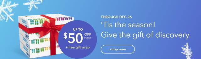 Christmas Sale at 23andMe - Up to $50 Off per DNA kit! The basic 23andMe Ancestry Service (autosomal) DNA test kit, regularly $99, is now just $79! The 23andMe Ancestry Service + Health DNA test kit, regularly $199, is now just $149! Gift wrapping is free and you need to order by December 16th in order to be received in time for Christmas.
