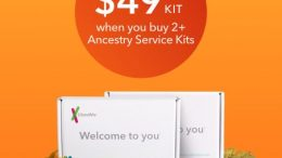 23andMe announced the LOWEST DNA PRICES so far this season! $49 for the Ancestry test kit if you buy 2 or more kits! Get this deal at DNA Bargains today!
