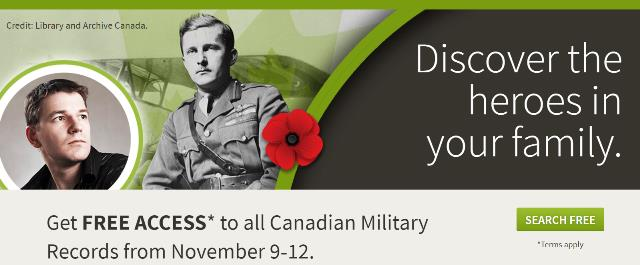 FREE ACCESS to Canadian Military Records at Ancestry.ca! Now through Sunday, November 12th, in honour of Remembrance Day, you can access millions of military records for your Canadian ancestors who served.