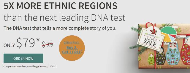 AncestryDNA just $79 during Holiday Sale! PLUS buy 3 test kits and get 1 for FREE using the Gift Pack option! Now is your chance to get the best-selling DNA test in the world! Ancestry DNA offers 5X MORE ETHNIC REGIONS than the next leading DNA test. Sale good through November 23rd
