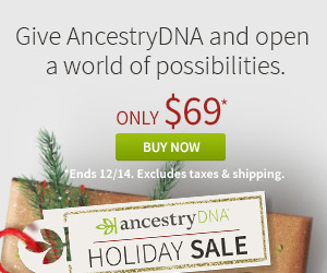 AncestryDNA Just $69 - Save 30%! After Black Friday, Ancestry has opted to keep the price LOW on Ancestry DNA! Get the world's most popular DNA test kit and start your journey of discovering more about your family history. Sale valid through Thursday, December 14th - click HERE to shop - via Ancestry