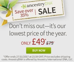 AncestryDNA text kit (UK) only £49! The Black Friday sales at AncestryDNA have crossed the pond! Starting today, you can save 38% on the popular Ancestry DNA test kit, normally £79, now just £49! Sale good through November 27th.
