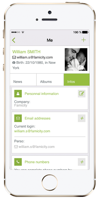 From preserving your child's development safely to sharing your family's history, every user has the opportunity to create a timeline for their most precious memories and share with their network by tagging relatives and approved users.