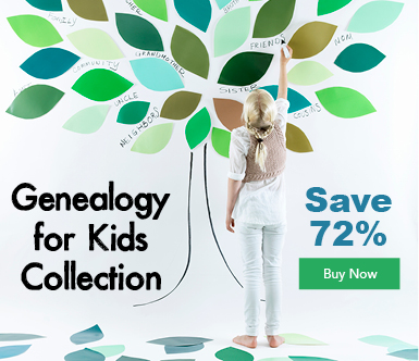 "Save 72% on Genealogy for Kids Collections - ""Pass your love of genealogy to the next generation with Genealogy for Kids Collection. With this collection, you will get five resources perfect for kids to begin their family tree. These tips, tricks, and prompts will help kids interview family members to build their family tree and dig into their heritage."" This is a GREAT GIFT for your grandchildren, nieces and nephews this Christmas or Hanukkah!"
