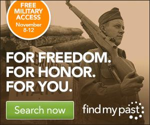 Get free access to Military Records at findmypast this weekend in honor of Remembrance Day / Veterans Day - both US and UK records available!