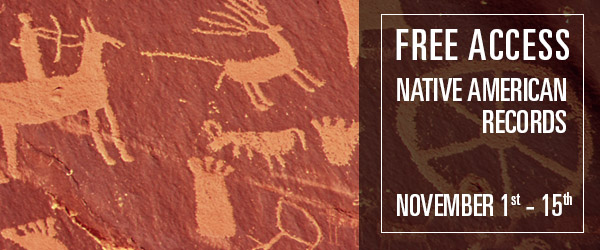 "FREE ACCESS to Native American Records at fold3! ""Do you have Native American ancestry? Or are you interested in Native American history? Then explore Fold3's Native American Collection for free November 1-15."""