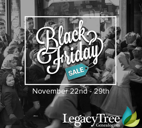 "Save $100 on a Basic Research Project at Legacy Tree Genealogists! Don't spend the holidays waiting in line for savings. Enjoy $100 off select genealogy research projects all week long with code CYBER100. ""Founded in 2004, Legacy Tree Genealogists provides full-service genealogical research for clients worldwide, helping them discover their roots and personal history through records, narratives, and DNA."" Sale good through Wednesday, November 29th."