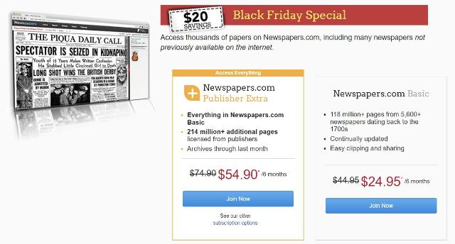 Save $20 at Newspapers.com! Get the Newspapers.com Publishers Extra 6-month subscription, regularly $74.90, for just $54.90.  Also save on Newspapers.com 6-month Basic Subscription, regularly $44.95, now just $24.95. Sale valid through Sunday, November 26th.