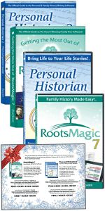 "Save 72% with Special Holiday Offer at RootsMagic! ""Are you looking for a gift that will really bring the family together? Then give the gift of computer software that unites families. And, as a RootsMagic customer, we've made it even easier for you by offering an amazing bundle including RootsMagic 7, Personal Historian 2, Getting the Most Out of RootsMagic 7, and Personal Historian 2: The Companion Guide (a $90 value) for as low as $25!"" There is also a print version of this deal available for $35 plus shipping. Sale valid through November 30th."
