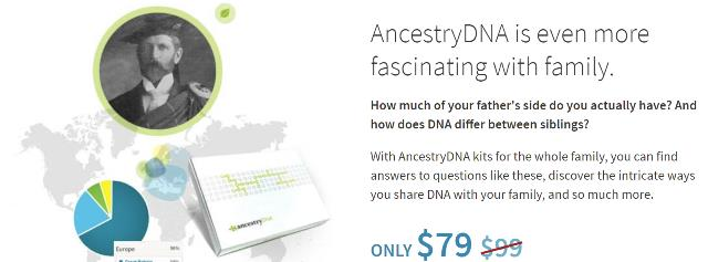 Family Value Pack Sale at AncestryDNA: Buy 3 AncestryDNA test kits and get 1 FREE! This B3G1 sale is back - unfortunately the FREESHIPDNA coupon will NOT work on this offer. However, you can still order one AncestryDNA test kit for $79 USD and save $9.95 USD on shipping with the FREESHIPDNA promo code at checkout. No sale expiration date.