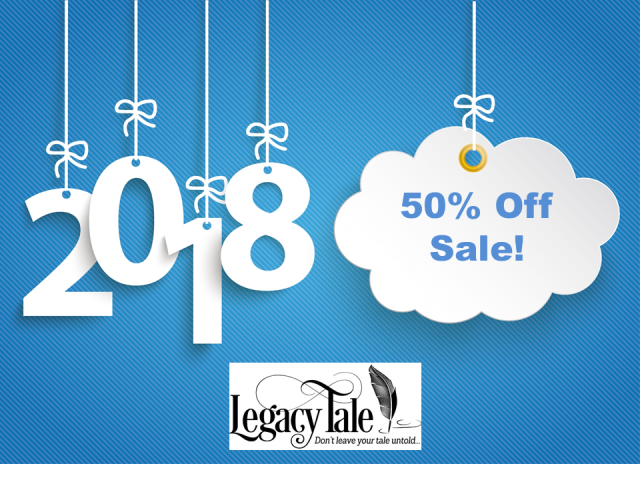 Save 50% on all products at Legacy Tale! Now through Wednesday, January 3rd, save on e-books to help you preserve your family stories during the 50% Happy 2018 Sale. Check out the popular Tell Your Tale E-Book series and get started today! Use promo code HAPPY2018 at checkout