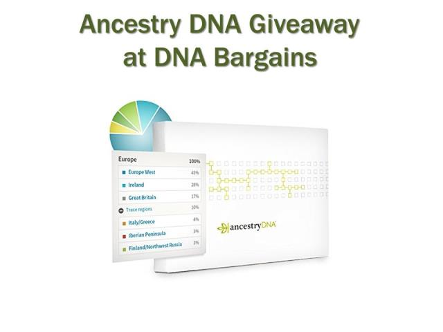 Enter the Ancestry DNA Giveaway sponsored by DNA Bargains and you could win an Ancestry DNA test kit valued at $99 USD!