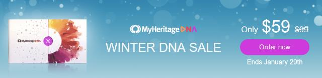 Save 40% at MyHeritage DNA - $59 USD! For just $59 USD and €69 (Europe) and £69 (UK) you can get the popular autosomal DNA test kit similar to AncestryDNA, Family Tree DNA and other DNA testing companies. You'll have access to more ethnicities than any other major vendor PLUS received your results much faster than other companies. Sale valid through January 29th.