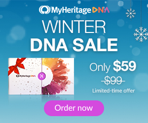 Save 40% at MyHeritage DNA - $59 USD! For just $59 USD and €69 (Europe) and £69 (UK) you can get the popular autosomal DNA test kit similar to AncestryDNA, Family Tree DNA and other DNA testing companies. You'll have access to more ethnicities than any other major vendor PLUS received your results much faster than other companies. Sale valid through January 22nd.