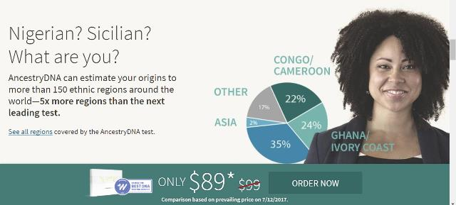 Savings at AncestryDNA: It seems that Ancestry DNA has its pricing all over the place right now. The recent $79 USD sale price has been raised to $89 USD for new customers, but existing Ancestry members and customers can still get the $79 USD price.  It is likely that Ancestry DNA is gearing up for another sale, perhaps a Blue Moon sale on January 31st.