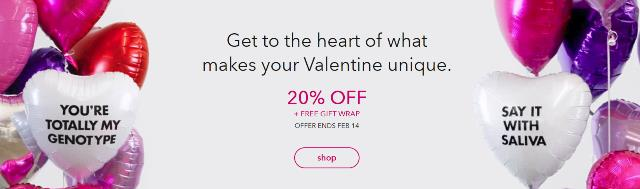 Save 20% on All DNA test kits at 23andMe! 23andMe is holding a Valentine's Day Sale with some great prices on both of their DNA test kits: The 23andMe Ancestry Service DNA test kit, regularly $99, is now just $79 USD!  The 23andMe Health + Ancestry Service + Health DNA test kit, regularly $199 USD, is now just $159 USD! Sale valid through February 14th.