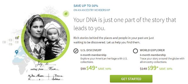 Save 50% or more on 6-month subscriptions at Ancestry! This offer is for NEW MEMBERS only, but you can save 50% on the US and World 6-month subscriptions!