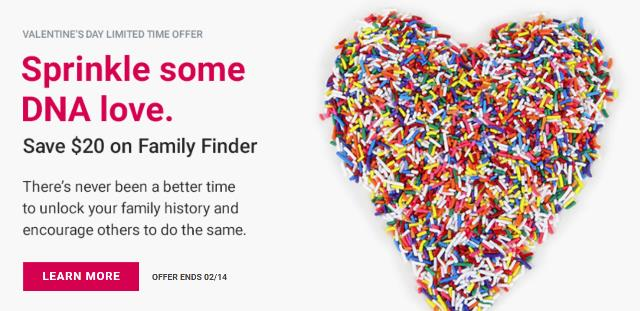 "Save $20 on Family Finder DNA test and save on DNA test bundles at Family Tree DNA! ""Family Finder provides powerful interactive tools to help find your DNA matches, trace your lineage through time and determine family connections."""