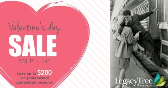 "Save up to $200 on professional research from Legacy Tree Genealogists! Take advantage of ""sweet"" savings during our Valentine's Day Sale, running now through February 14th. Save up to $200 on professional genealogy research"