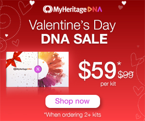 SALE EXTENDED! Save 40% at MyHeritage DNA - $59 USD when you buy two or more! For just $59 USD (€59/£59) you can get the popular autosomal DNA test kit similar to AncestryDNA, Family Tree DNA and other DNA testing companies. You'll have access to more ethnicities than any other major vendor PLUS received your results much faster than other companies. You must purchase two or more MyHeritage DNA kits to qualify for this special price!