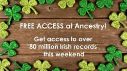 FREE ACCESS at Ancestry to over 80 million Irish records! AncestryDNA sale - just $69 USD! Get the latest deals at Genealogy Bargains today, Thursday, March 15, 2018