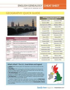 English Genealogy Cheat Sheet: Dig into your English ancestry with this at-a-glance guide to English genealogy basics. This cheat sheet download includes information about English genealogy records and how to find English records online, plus quick guides to the history and geography of England and Britain.