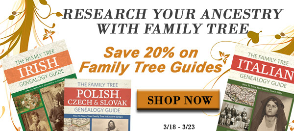 "Save 20% on Family Tree Guides at Family Tree Magazine! ""Not sure where to get started in your genealogy research? Check out Family Tree Guide Books! These exceptional guides include expert information and ready-to-use example formatting that is ideal for anyone looking to dig into their ancestry. Whether your ancestors are from Ireland, Italy, or Poland, we have a country specific guide book to help you research like a pro. Plus, each book has an eBook version also available so you can take your research on-the-go. Whatever you are looking for, Family Tree's guide books can help you get started discovering your roots."""