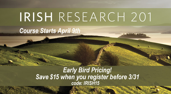 Save $15 on Irish Research 201 Online Genealogy Course from Family Tree Magazine - register by March 31st and use our special promo code at Genealogy Bargains!