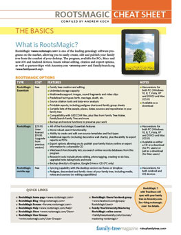 RootsMagic Cheat Sheet: Organize your genealogy with RootsMagic. This quick guide will show you how to create, build, edit, and share family trees in one of the most popular genealogy software programs, featuring tips and techniques for using the program's more complex features.
