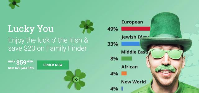 "Save $20 on Family Finder DNA test and save on DNA test bundles at Family Tree DNA! ""Family Finder provides powerful interactive tools to help find your DNA matches, trace your lineage through time and determine family connections."" Regularly $79, now just $59! Sale valid through March 18th."